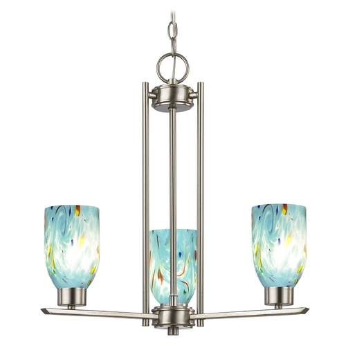 Design Classics Lighting Chandelier with Blue Art Glass in Satin Nickel - 3-Lights 1121-1-09 GL1021D