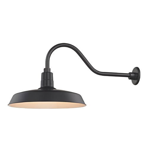 Recesso Lighting by Dolan Designs Black Gooseneck Barn Light with 18-Inch Shade BL-ARMQ-BLK/BL-SH18-BLK