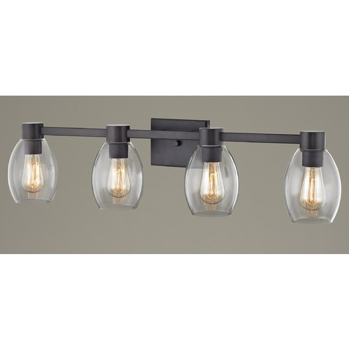 Design Classics Lighting 4-Light Clear Glass Bathroom Light Bronze 2104-220 GL1034-CLR