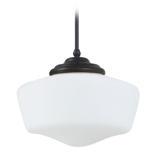 Sea Gull Lighting Schoolhouse Pendant Light with White Glass in Heirloom Bronze Finish 65437-782