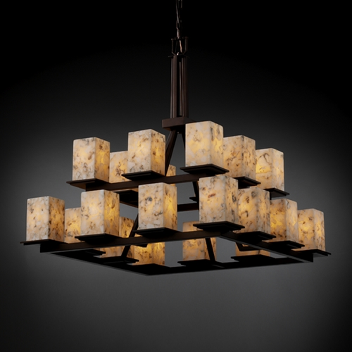 Justice Design Group Justice Design Group Alabaster Rocks! Collection Chandelier ALR-8667-15-DBRZ
