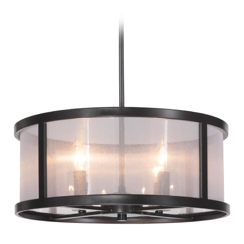 Craftmade Lighting Craftmade Danbury Matte Black Pendant Light with Drum Shade 36794-MBK