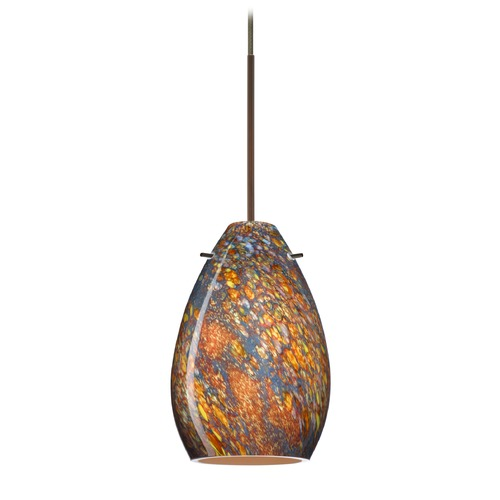 Besa Lighting Besa Lighting Pera Bronze LED Mini-Pendant Light with Oblong Shade 1XT-1713CE-LED-BR