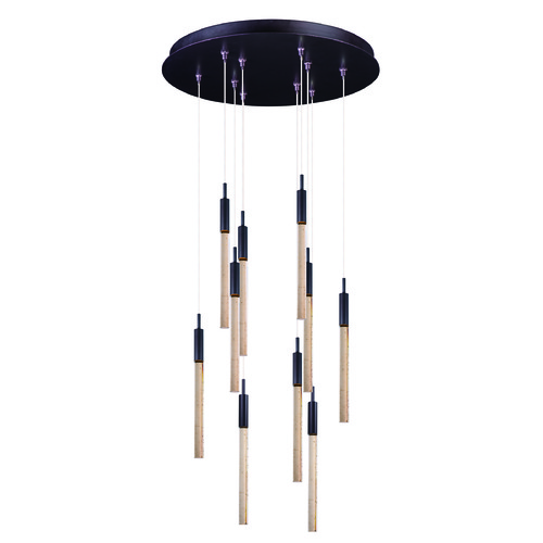 ET2 Lighting Scepter Anodized Bronze LED Multi-Light Pendant with Cylindrical Shade E32778-118BRZ