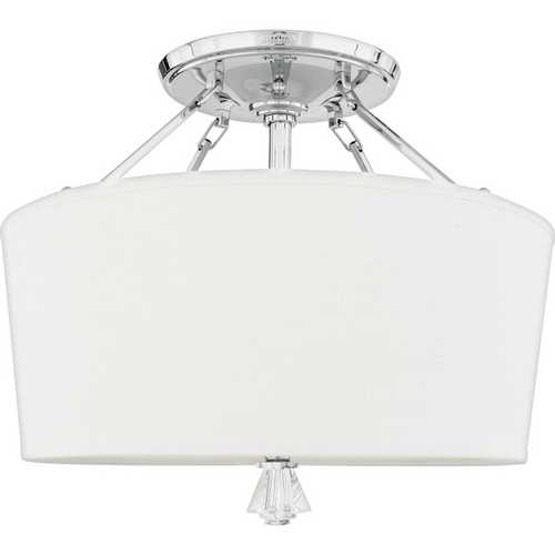 Quoizel Lighting Modern Semi-Flushmount Light with White Shade in Polished Chrome DX1718C