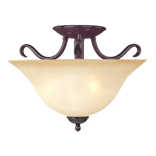 Maxim Lighting Modern Semi-Flushmount Light with Beige / Cream Glass in Oil Rubbed Bronze Finish 10120WSOI