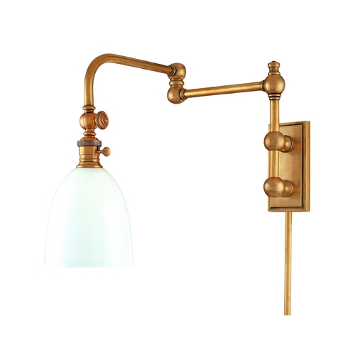 Hudson Valley Lighting Swing Arm Lamp with White Glass in Aged Brass Finish 772-AGB