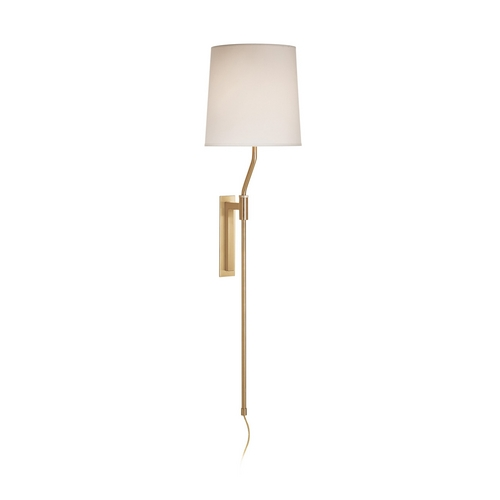 Sonneman Lighting Modern Pin-Up Lamp with White Shade in Satin Brass Finish 7009.38