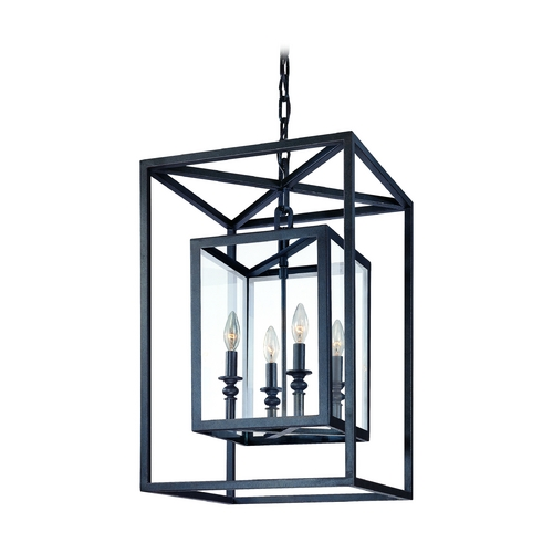 Troy Lighting Modern Pendant Light with Clear Glass in Deep Bronze Finish F9994DB