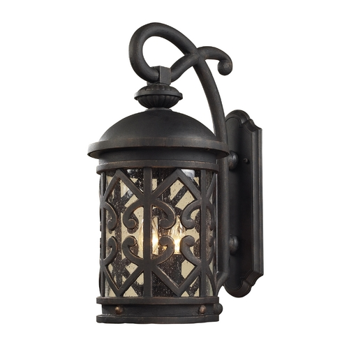 Elk Lighting Outdoor Wall Light with Clear Glass in Weathered Charcoal Finish 42061/2