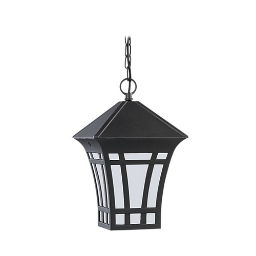 Sea Gull Lighting Outdoor Hanging Light with White Glass in Black Finish 69131BLE-12