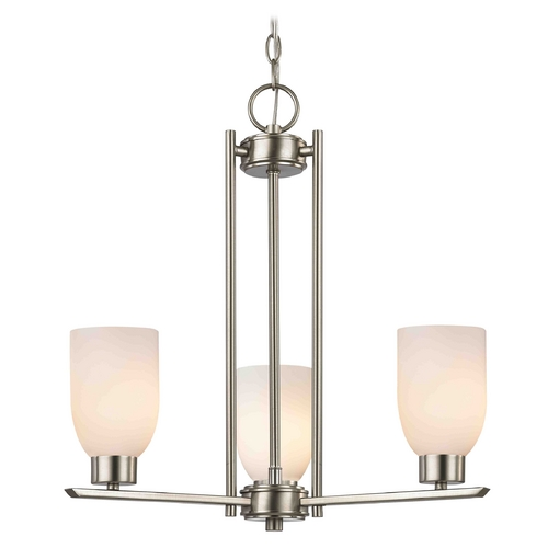 Design Classics Lighting Chandelier with White Glass in Satin Nickel - 3-Lights 1121-1-09 GL1024D