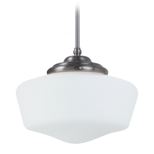 Sea Gull Lighting Schoolhouse Pendant Light with White Glass in Brushed Nickel Finish 65437-962