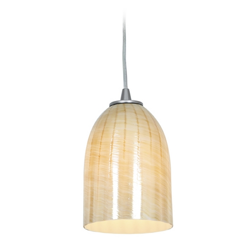 Access Lighting Access Lighting Janine Inari Silk Brushed Steel Mini-Pendant Light 28018-2C-BS/WAMB