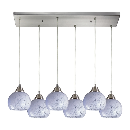 Elk Lighting Modern Multi-Light Pendant Light with White Glass and 6-Lights 101-6RC-SW