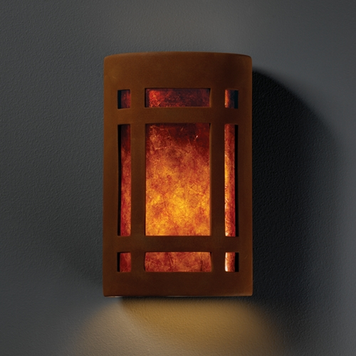 Justice Design Group Sconce Wall Light with White in Real Rust Finish CER-5495-RRST