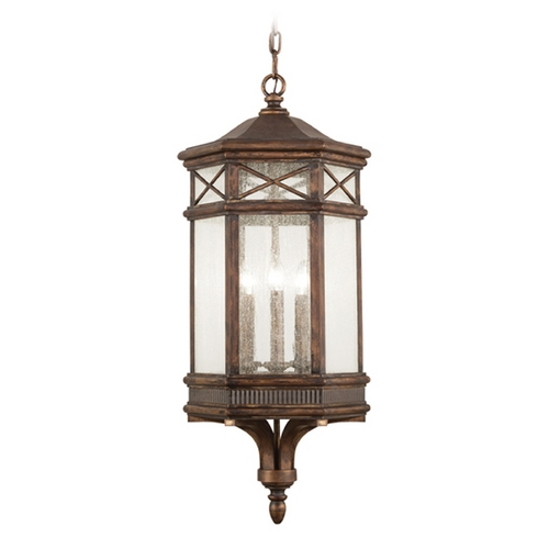 Fine Art Lamps Seeded Glass Outdoor Hanging Light Bronze Fine Art Lamps 837082ST