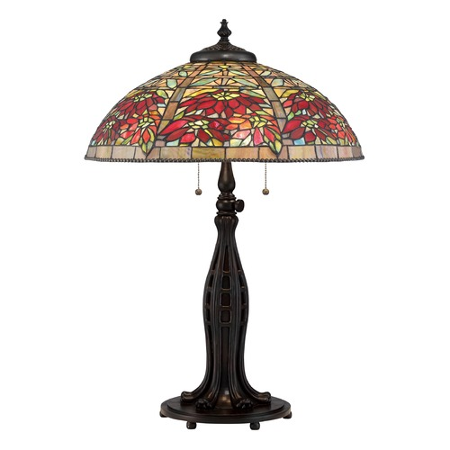 Quoizel Lighting Quoizel Lighting Tiffany Valiant Bronze Table Lamp with Bowl / Dome Shade TF2600TVA