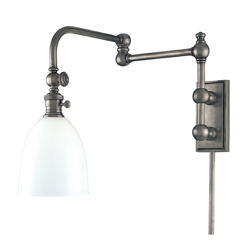Hudson Valley Lighting Swing Arm Lamp with White Glass in Antique Nickel Finish 772-AN