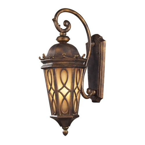 Elk Lighting Outdoor Wall Light with Beige / Cream Glass in Hazlenut Bronze Finish 42002/3