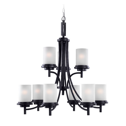 Sea Gull Lighting Modern Chandelier with White Glass in Blacksmith Finish 31662-839