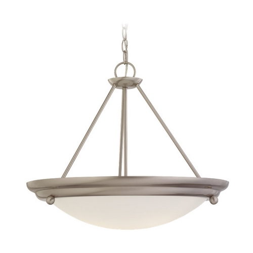 Sea Gull Lighting Pendant Light with White Glass in Brushed Stainless Finish 69133BLE-98