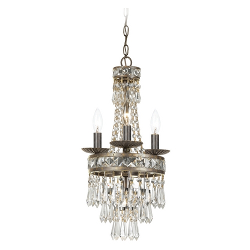Crystorama Lighting Crystal Mini-Chandelier in English Bronze Finish 5263-EB-CL-MWP