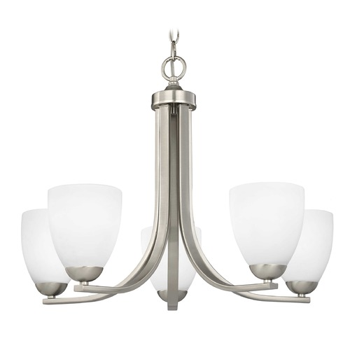Design Classics Lighting Modern Chandelier with White Bell Glass in Satin Nickel Finish 584-09 GL1028MB
