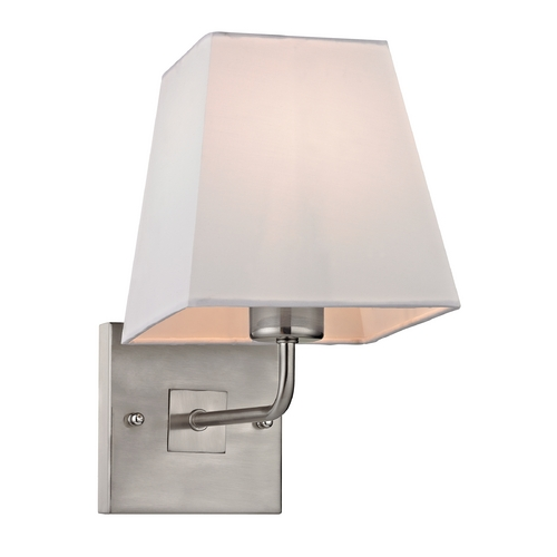 Elk Lighting Modern Sconce Wall Light with White Shade in Brushed Nickel Finish 17152/1