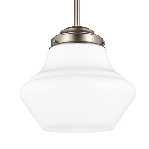 Feiss Lighting Schoolhouse Pendant Light Opal Glass Satin Nickel 12-Inch Wide by Feiss Lighting P1406SN