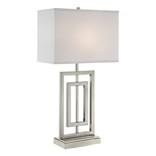 Lite Source Lighting Lite Source Bensky Brushed Nickel Table Lamp with Rectangle Shade LS-23088