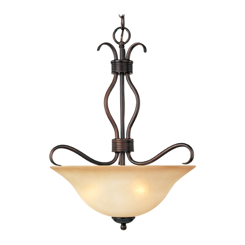 Maxim Lighting Modern Pendant Light with Beige / Cream Glass in Oil Rubbed Bronze Finish 10121WSOI