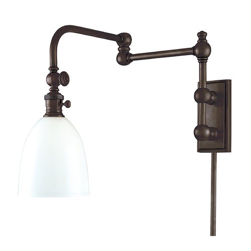 Hudson Valley Lighting Swing Arm Lamp with White Glass in Old Bronze Finish 772-OB