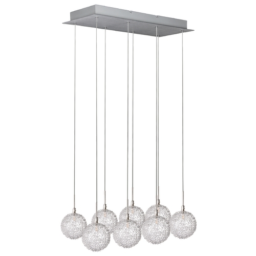 ET2 Lighting Modern Low Voltage Multi-Light Pendant Light with Clear Glass and 8-Lights E20107-78