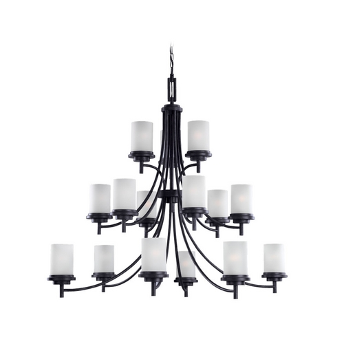 Sea Gull Lighting Modern Chandelier with White Glass in Blacksmith Finish 31663-839