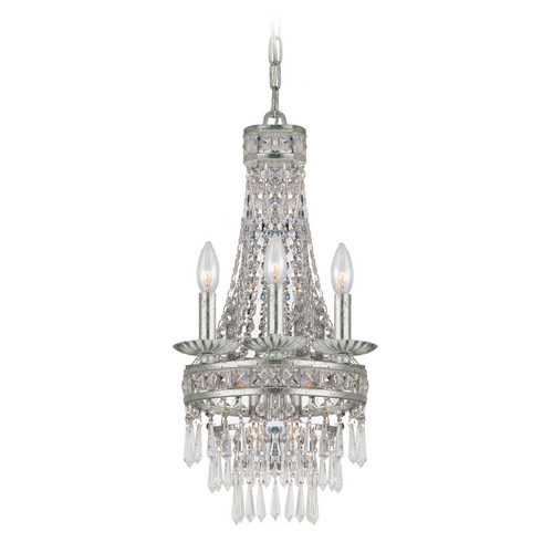 Crystorama Lighting Crystal Mini-Chandelier in Old Silver Finish 5263-OS-CL-MWP