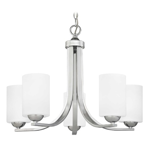 Design Classics Lighting Chrome Chandelier with White Cylinder Glass and Five Lights 584-26 GL1028C