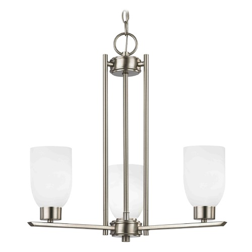 Design Classics Lighting Chandelier with White Glass in Satin Nickel - 3-Lights 1121-1-09 GL1028D