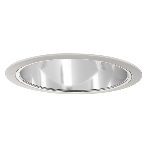 Recesso Lighting by Dolan Designs Clear Cone Reflector White Trim for 6-Inch Recessed Housings T604C-WH