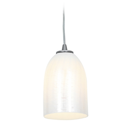 Access Lighting Access Lighting Janine Inari Silk Brushed Steel Mini-Pendant Light 28018-2C-BS/WWHT