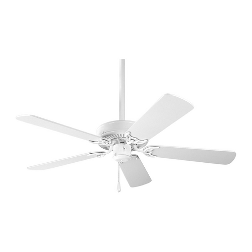 Progress Lighting Progress Ceiling Fan Without Light in White Finish P2500-30
