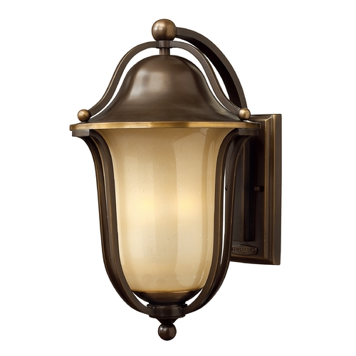 Hinkley Lighting Light Amber Seeded Glass Outdoor Wall Light Bronze Hinkley Lighting 2635OB