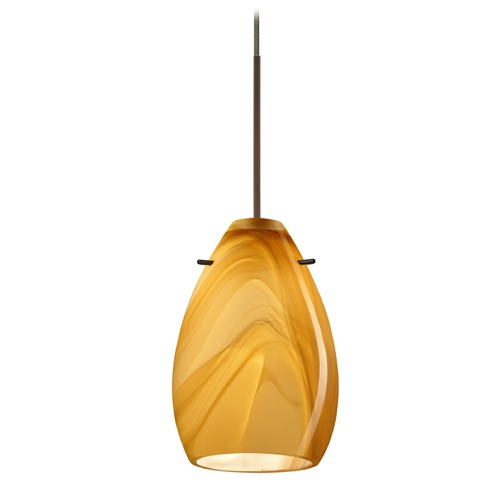 Besa Lighting Besa Lighting Pera Bronze LED Mini-Pendant Light with Oblong Shade 1XT-1713HN-LED-BR
