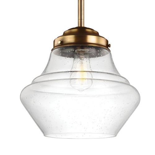 Feiss Lighting Schoolhouse Pendant Light Seeded Glass Brass 12-Inch Wide by Feiss Lighting P1407AGB