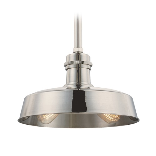 Hudson Valley Lighting Hudson Valley Lighting Hudson Falls Polished Nickel Pendant Light with Bowl / Dome Shade 8614-PN