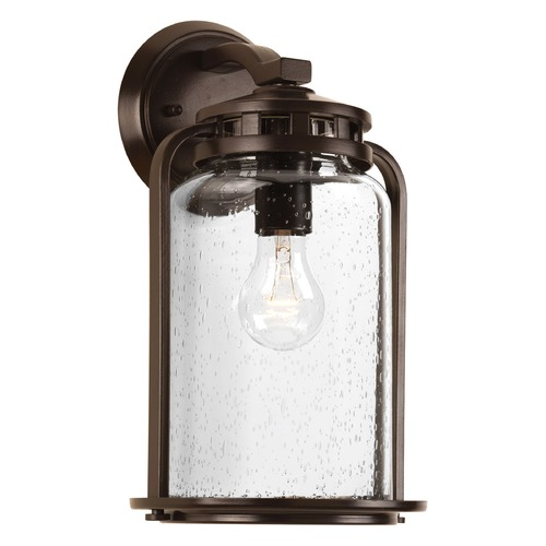 Progress Lighting Seeded Glass Outdoor Wall Light Bronze Progress Lighting P6050-20