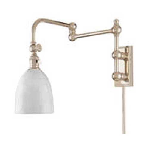 Hudson Valley Lighting Swing Arm Lamp with White Glass in Polished Nickel Finish 772-PN
