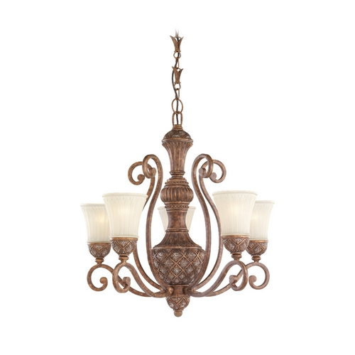 Sea Gull Lighting Chandelier with White Glass in Regal Bronze Finish 31751-758