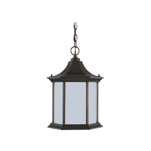 Sea Gull Lighting Outdoor Hanging Light with White Glass in Textured Rust Patina Finish 69136BLE-08