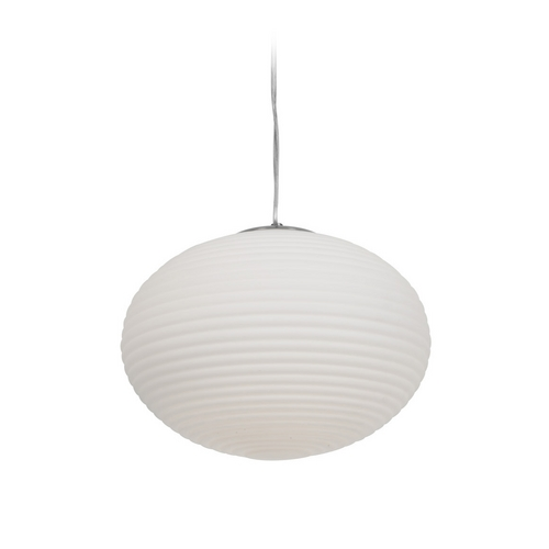 Access Lighting Modern Pendant Light with White Glass in Brushed Steel Finish 50180-BS/OPL